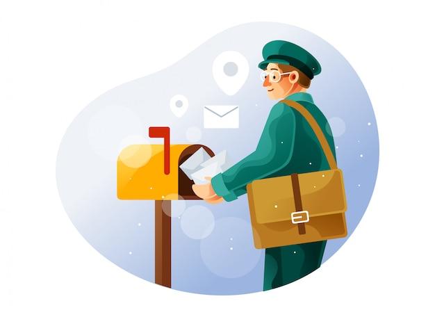 Der postbote legt den brief in den briefkasten