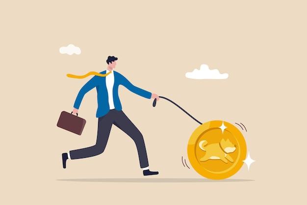 Der preis der dogecoin-kryptowährung steigt mit hohem gewinn.