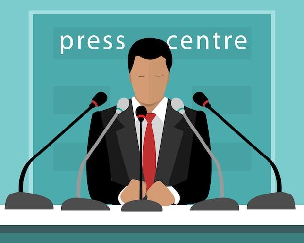 Der pressekonferenz mit einem sprecher. illustration des gesichtslosen mannes mit mikrofonen, die sprechen, um zu drücken.