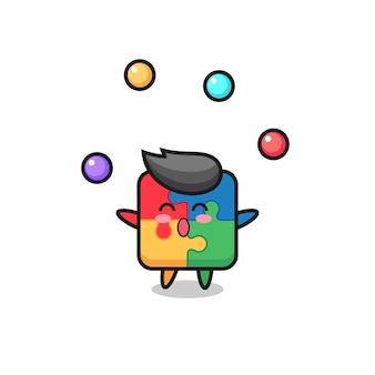 Der puzzle-zirkus-cartoon, der mit einem ball jongliert, niedliches design für t-shirt, aufkleber, logo-element