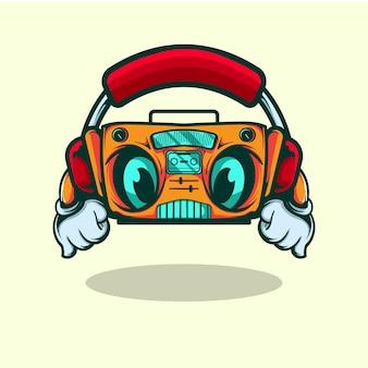 Der radio-vektor-charakter hört der musik mit kopfhörer zu