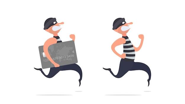 Der räuber läuft mit einer kreditkarte davon. der kriminelle läuft mit einer bankkarte.