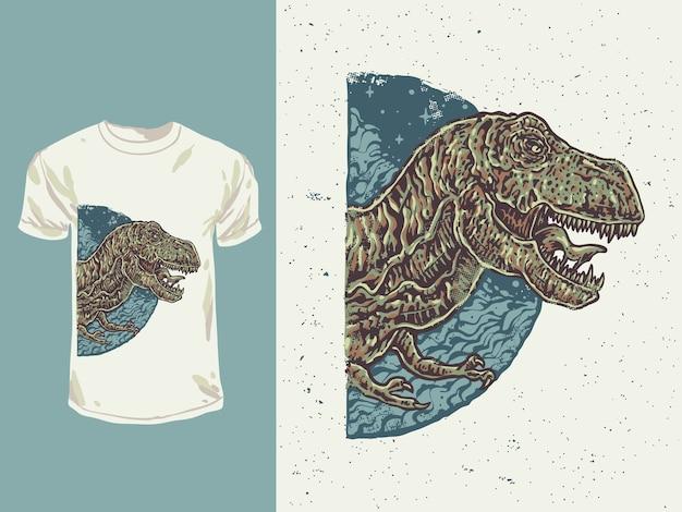 Der raubvogeldinosaurier des wütenden gesichts mit einer hand gezeichneten illustration