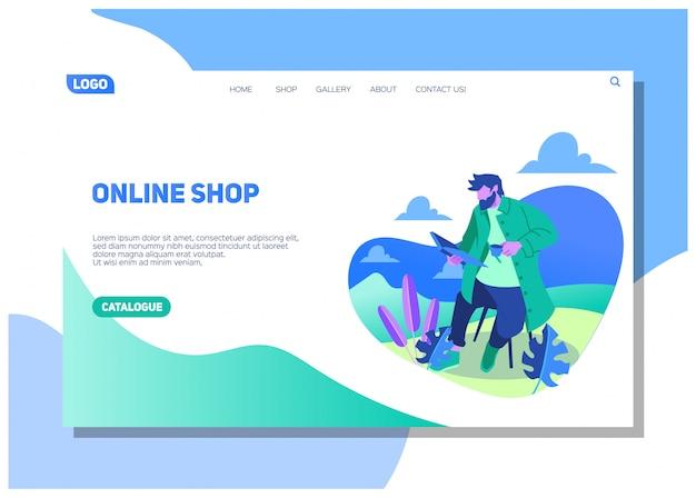 Der reisende erkundet die natur, wandert und genießt das wetter mitten am tag und liest das buch auf der landingpage für die online-shopping-website