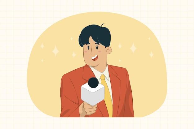 Der reporter eines jungen mannes bittet um ein interviewkonzept