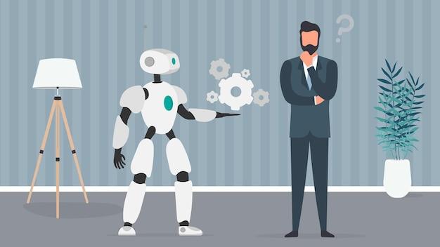 Der roboter bietet eine lösung. geschäftsmann mit einer frage. teamwork-konzept von menschen und robotern. vektor.