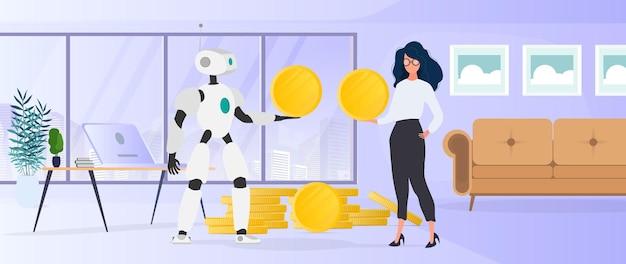 Der roboter gibt dem mädchen eine goldmünze. der roboter bringt dem geschäft gewinn. vektor.