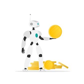 Der roboter hält eine goldmünze. gola von goldmünzen. das konzept des bergbaus, des passiven einkommens, des zukünftigen einkommens. isoliert. vektor.