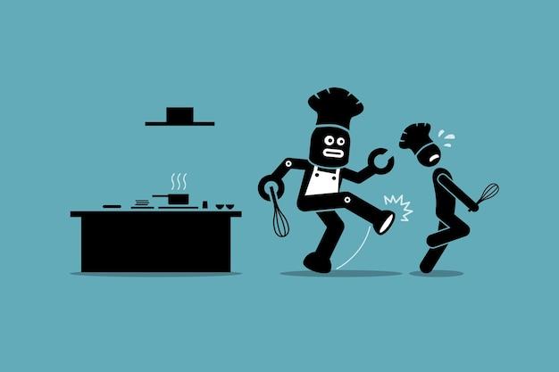 Der roboterkoch wirft einen menschlichen koch davon ab, seine arbeit in der küche zu erledigen.