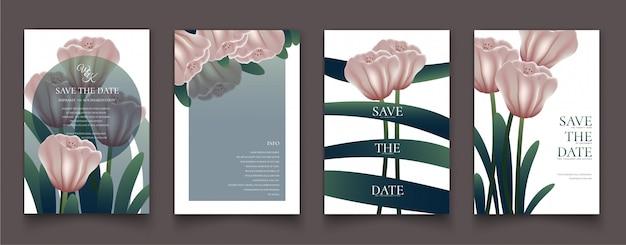 Der rosa blumenrahmen für einladungskarten.