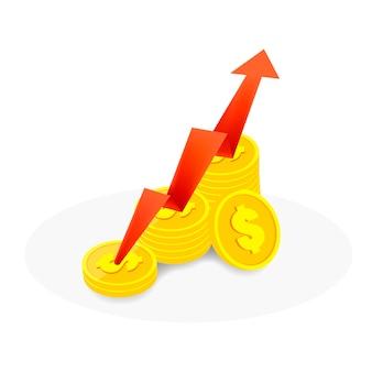 Der rote pfeil steigt auf den münzen auf weiß und unter dem schatten