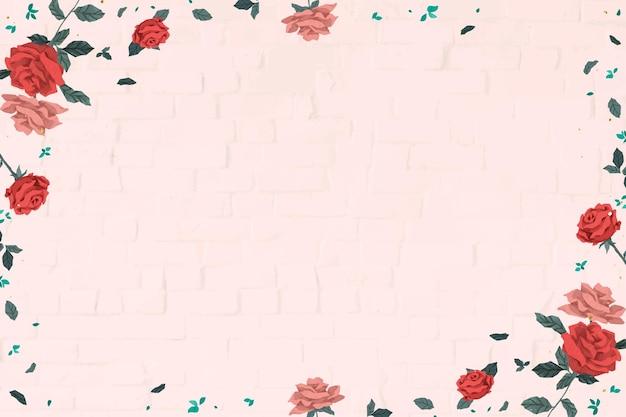 Der rote rosenrahmenvektor des valentinsgrußes mit rosa backsteinmauerhintergrund