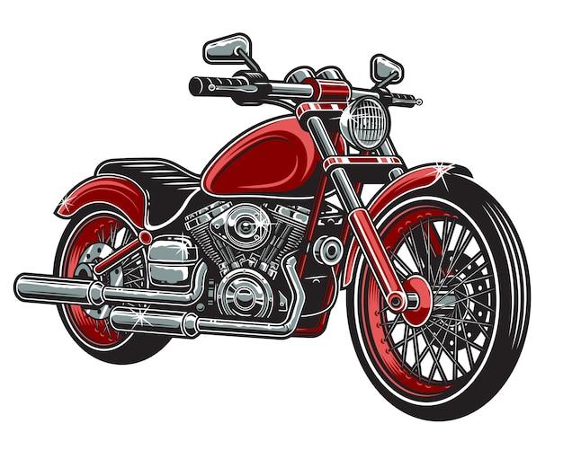 Der roten farbe motorrad lokalisiert auf weißem hintergrund.