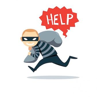 Der running kidnapper mit einer person im sack.