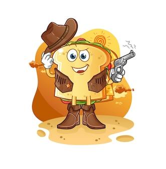Der sandwich-cowboy mit pistole