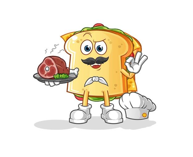 Der sandwichkoch mit fleischcharakter-maskottchen