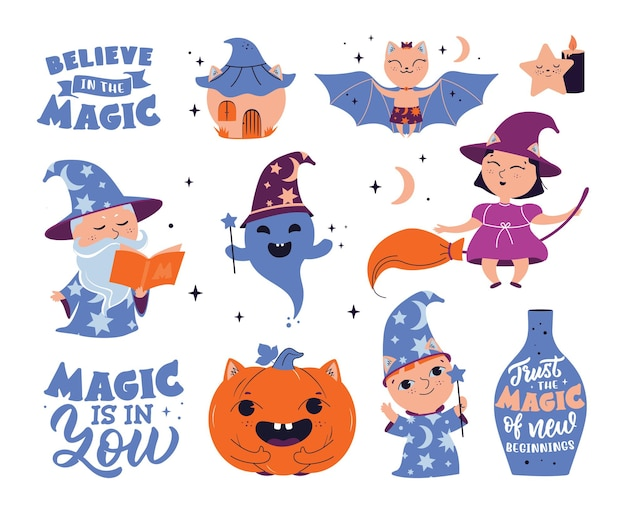 Der satz magischer aufkleber mit text die zeichentrickfiguren für halloween entwirft magierlogo