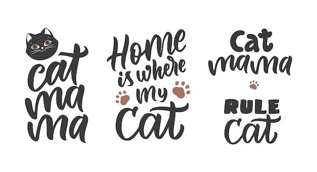 Der satz von schriftzügen mit katzen-silhouette-pfote die schwarzen sätze sind gut für katzentags-urlaubsdesigns