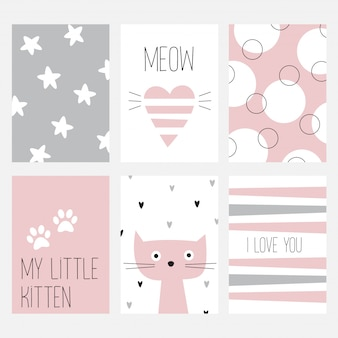 Der satz von sechs karten mit einer schönen katze auf einem rosa hintergrund.