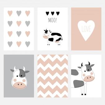 Der satz von sechs niedlichen postkarten mit einer kuh.