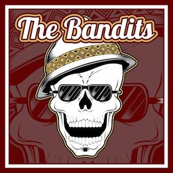 Der schädel der banditen trägt eine mütze