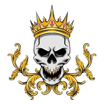 Der schädel mit der goldenen krone und dem rubindiamanten