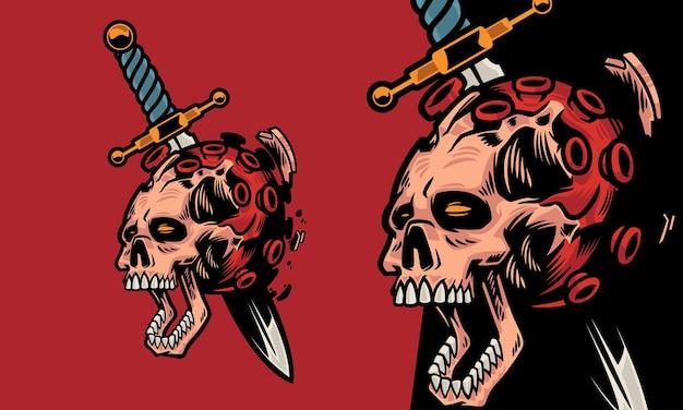 Der schädel wird von einem schwert erstochen und das corona-virus kommt aus dem premium-vektor-illustrationsset