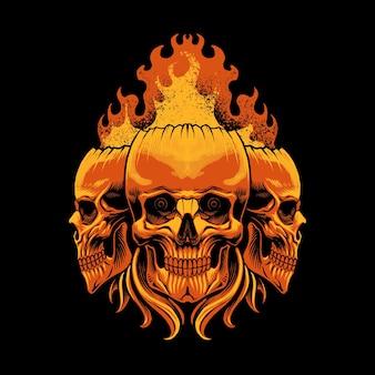 Der schädelkopf mit flammenillustration