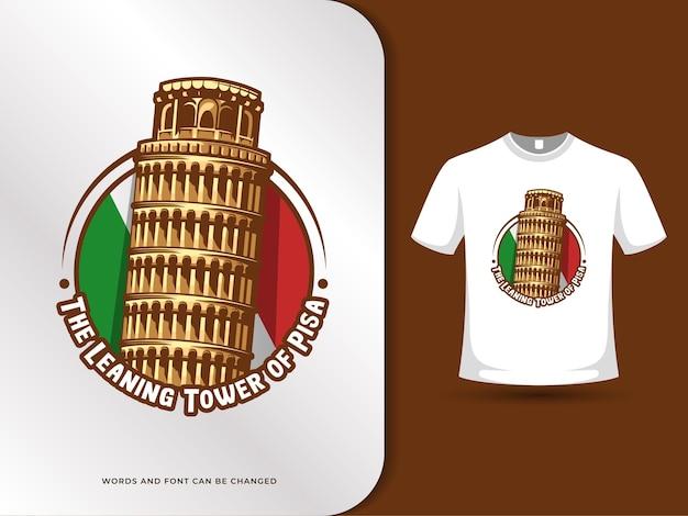 Der schiefe turm von pisa-wahrzeichen und flagge der italienischen illustration mit t-shirt-entwurfsschablone