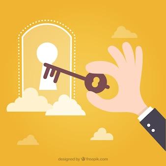Der schlüssel zum erfolg-konzept