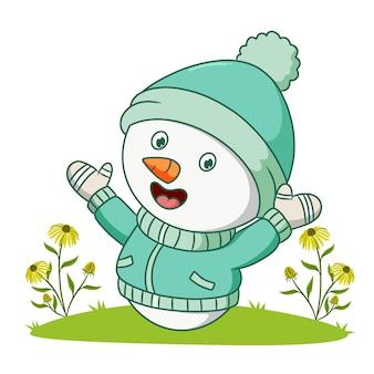 Der schneemann trägt das winterkostüm der illustration