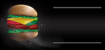 Der Schnellimbiß Hamburgervektor im dunklen Ton-Stimmungshintergrundbild.