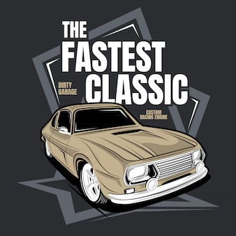 Der schnellste klassiker, illustration eines oldtimers