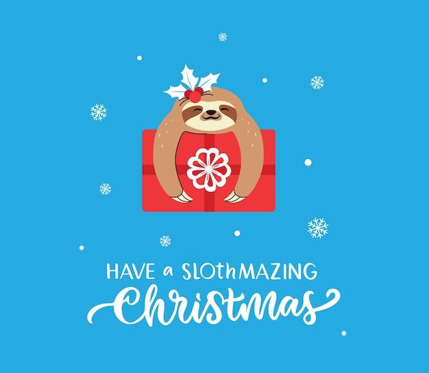 Der schriftzug und das lustige tier mit geschenk das textfaultier mit geschenk für weihnachtskarten