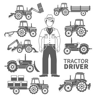 Der schwarze satz des traktorfahrers und der dekorativen ikonen der landwirtschaftlichen maschinen lokalisierte vektorillustration