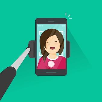Der selfie-stock und smartphone, die foto von selbst machen, vector illustration, junges glückliches mädchen der flachen karikatur mit handy machen selbstfoto