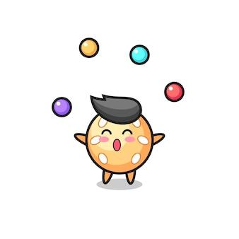 Der sesamball-zirkus-cartoon, der mit einem ball jongliert, niedliches design für t-shirt, aufkleber, logo-element