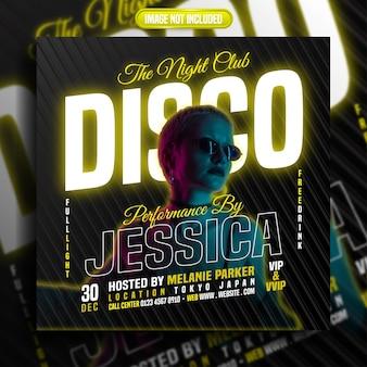 Der social-media-beitrag der nachtclubdisco