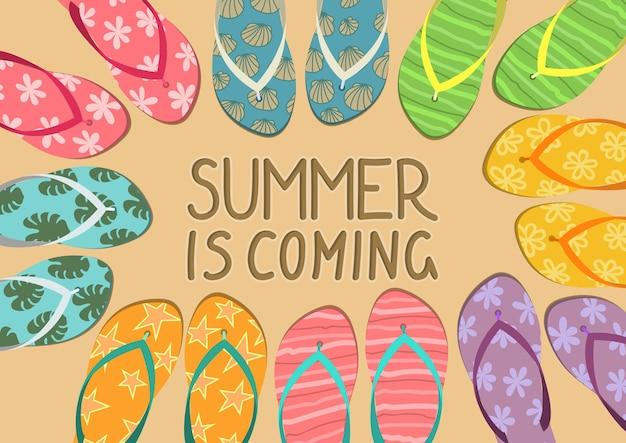 Der sommer kommt bunte flip-flops mit text