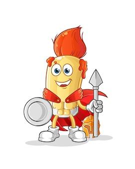 Der spartanische charakter des pinsels. cartoon maskottchen