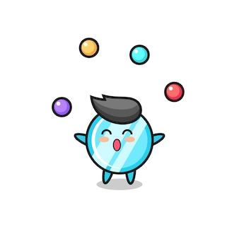 Der spiegelzirkus-cartoon, der mit einem ball jongliert, niedliches design für t-shirt, aufkleber, logo-element