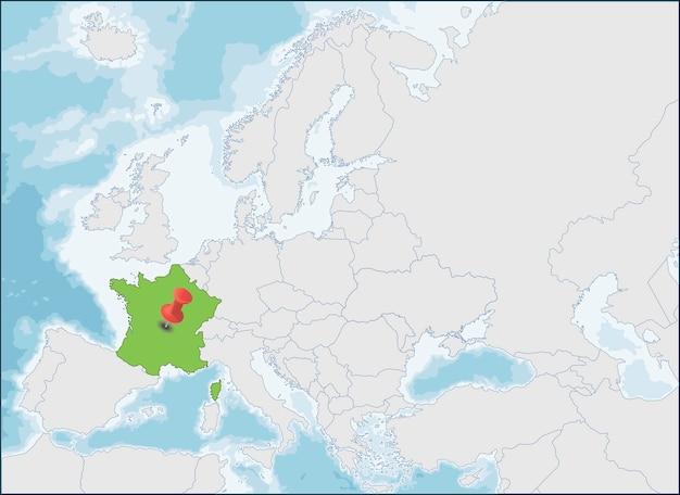 Der standort der französischen republik auf der europakarte