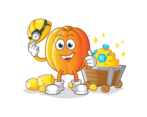 Der star fruit miner mit goldcharakter. karikatur
