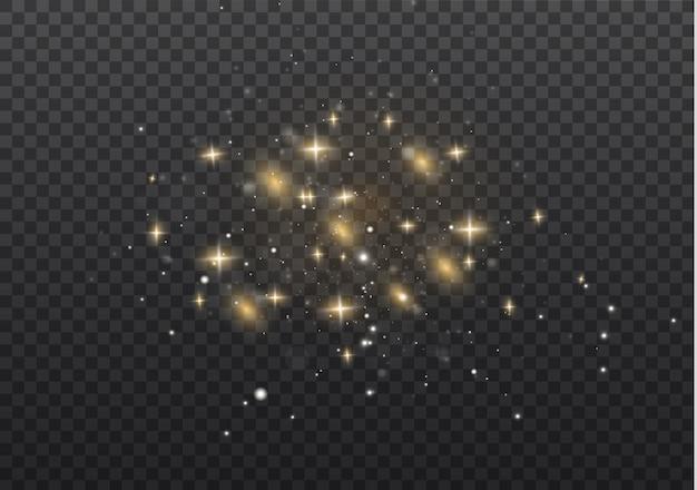 Der staub ist gelb. gelbe funken und goldene sterne leuchten mit besonderem licht.