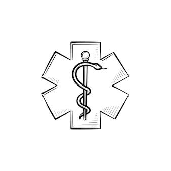 Der stern des lebens hand gezeichnete umriss-doodle-symbol. mitarbeiter von asklepios als zeichen des notfalls, krankenwagen und apotheke