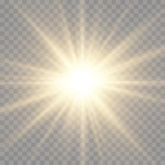 Der stern platzte vor brillanz, leuchtend heller stern, gelb leuchtender lichtstoß, gelbe sonnenstrahlen, goldener lichteffekt, sonnenschein mit strahlen, vektorillustration, eps 10