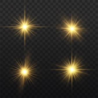 Der stern platzte vor brillanz, leuchtend heller stern, gelb leuchtendes licht platzte auf einem transparenten hintergrund.