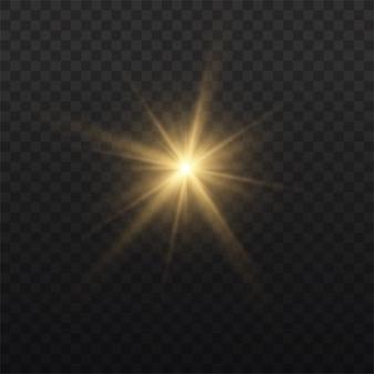 Der stern platzte vor brillanz, leuchtend heller stern, gelb leuchtendes licht platzte auf transparentem hintergrund, gelbe sonnenstrahlen, goldener lichteffekt, sonnenschein mit strahlen,