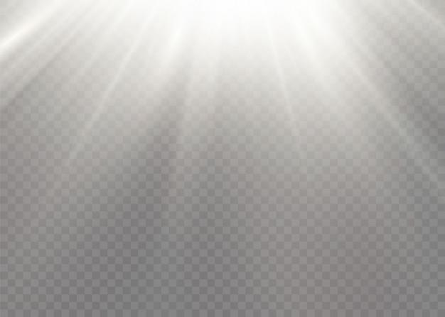 Der stern platzte vor brillanz. weiß leuchtende lichter sonnenstrahlen. ein sonnenblitz mit strahlen und scheinwerfer. spezieller lichteffekt lokalisiert auf transparentem hintergrund. illustration ,.
