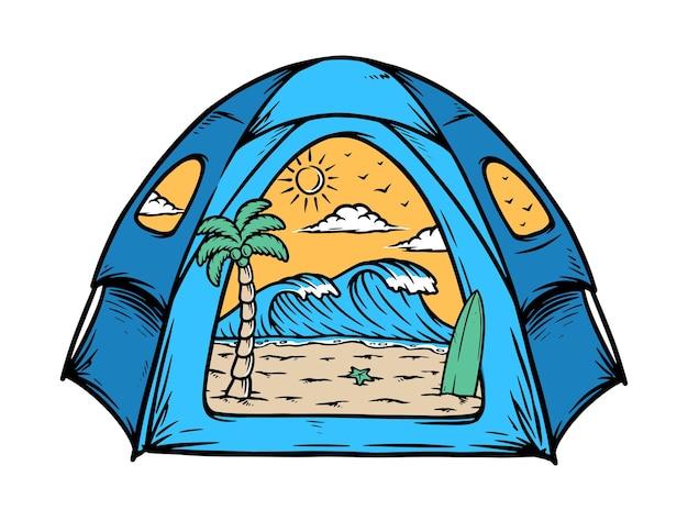 Der strand in meinem zelt